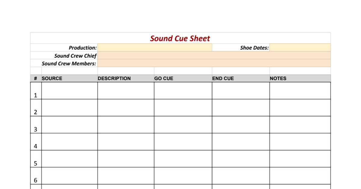 Sound Cue Sheet Template sound Cue Sheet Template Google Sheets
