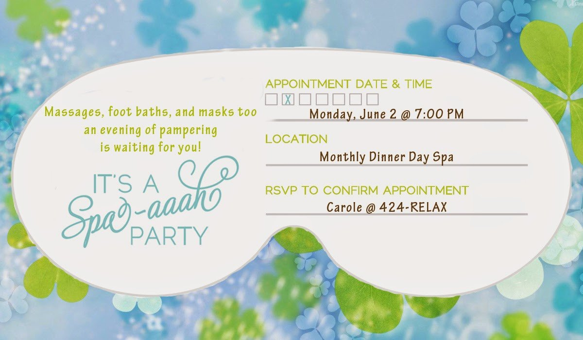 Spa Mask Template Spa Mask Invitation Templates