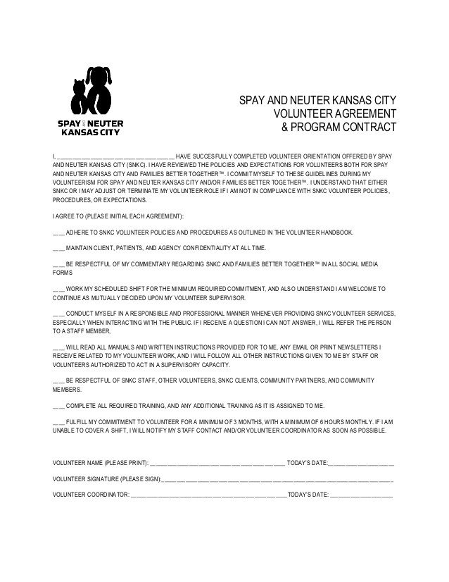 Spay and Neuter Contract Template Volunteer Agreement and Program Contract