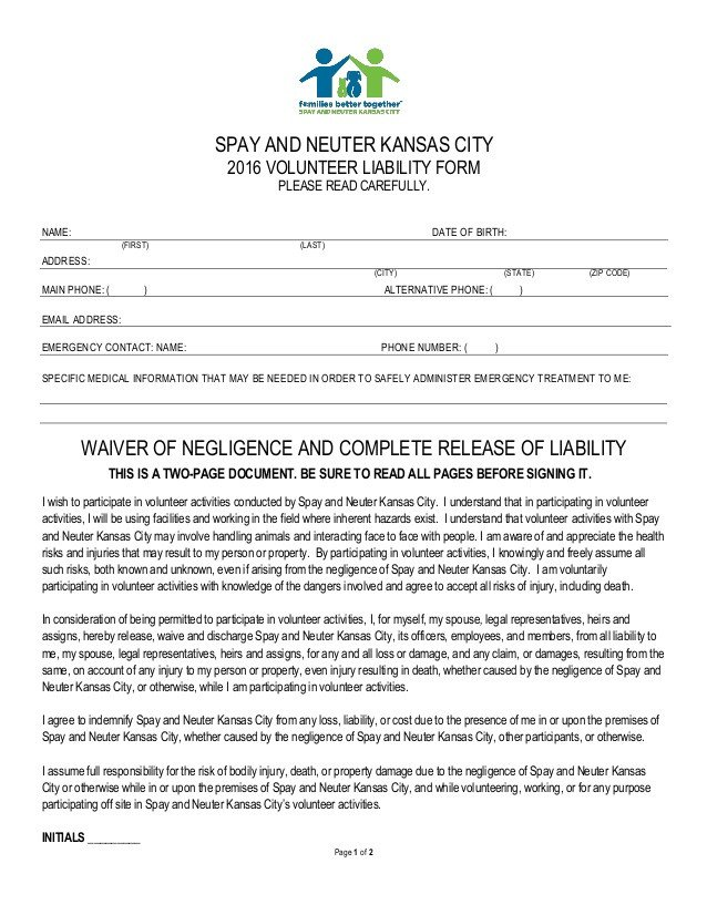 Spay and Neuter Contract Template Volunteer Liability form