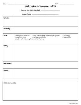 Special Ed Lesson Plan Templates Small Group Rti Special Education Lesson Plan