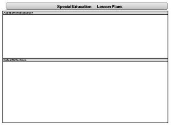 Special Ed Lesson Plan Templates Special Education Standards Based Lesson Plan Templates
