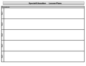 Special Education Lesson Plan Template Special Education Standards Based Lesson Plan Templates