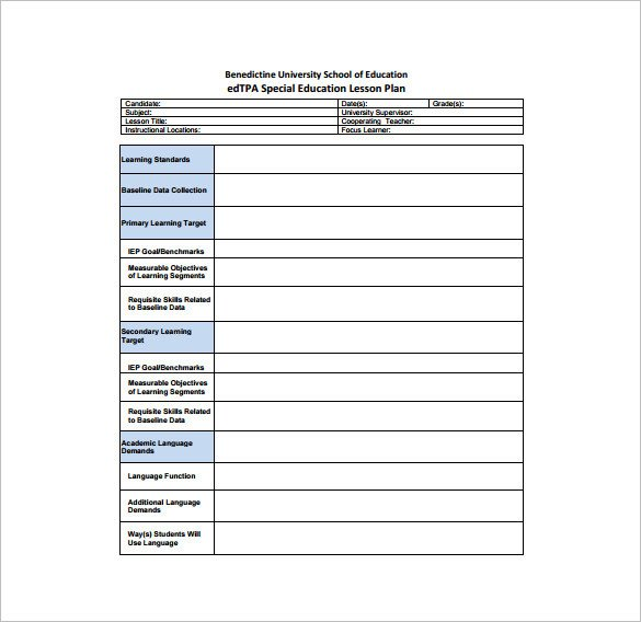 Special Education Lesson Plan Template Teacher Lesson Plan Template 8 Free Sample Example