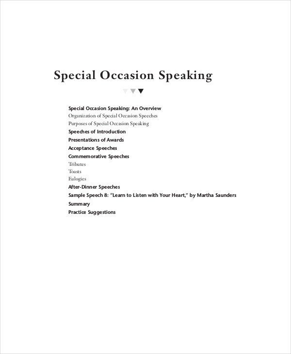 Special Occasion Speech Outlines 7 Special Occasion Speech Examples & Samples Pdf