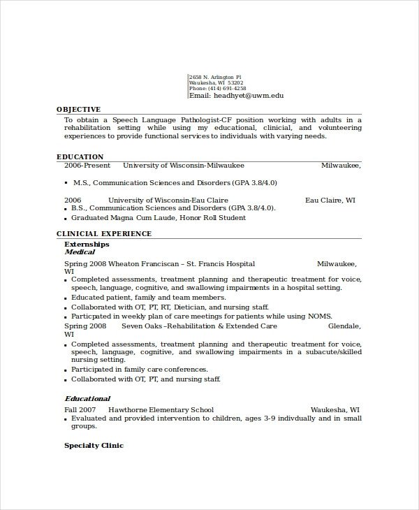 Speech Language Pathologist Resumes 6 Pathologist Resume Templates Pdf Doc
