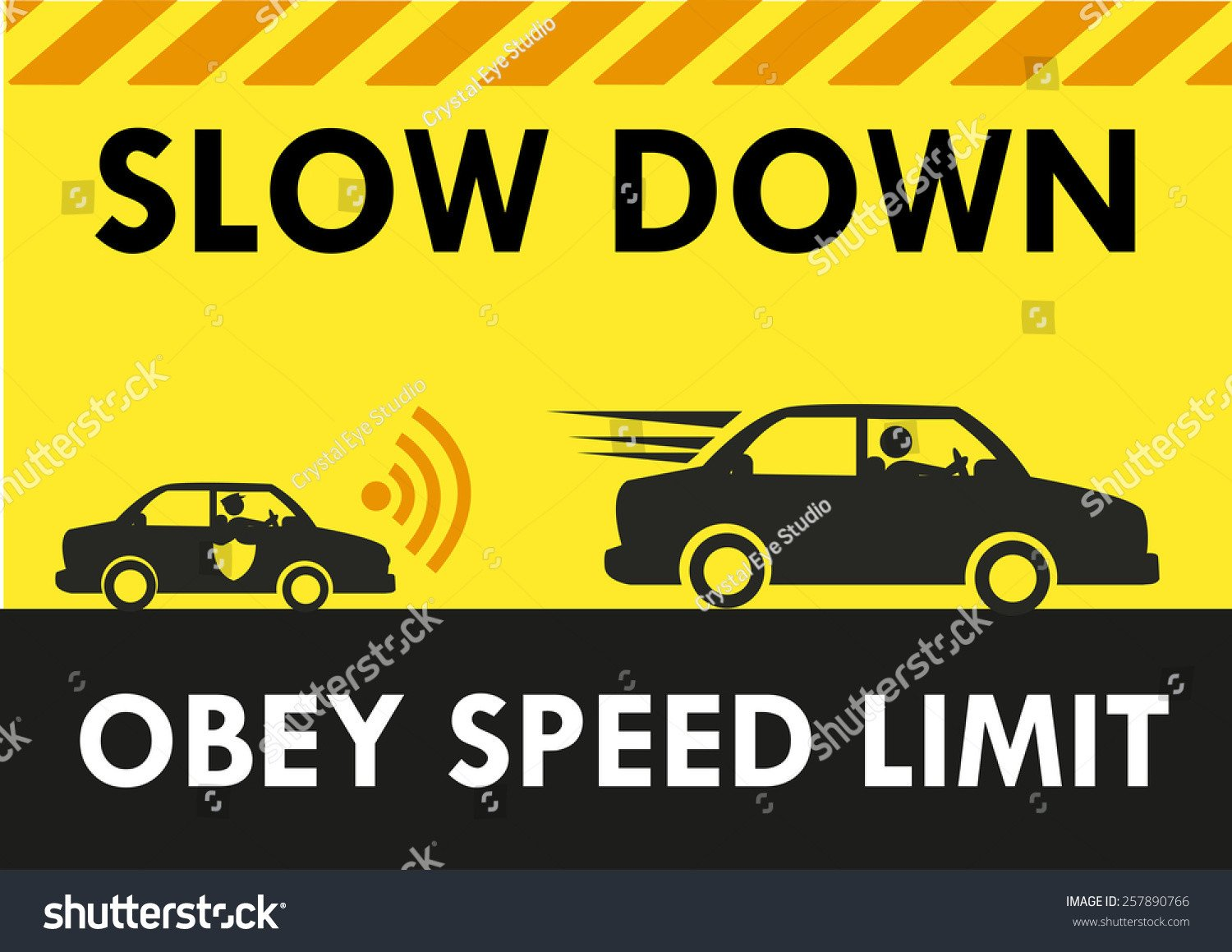 Speed Limit Sign Template Slow Down Obey Speed Limit Signboard Design Template with