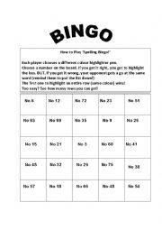 Spelling Bingo Board English Worksheets Spelling Bingo Card Editable