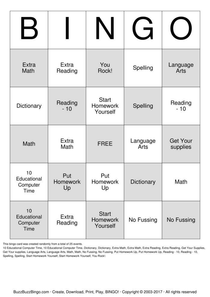 Spelling Bingo Board Homework Bingo Bingo Cards to Download Print and Customize
