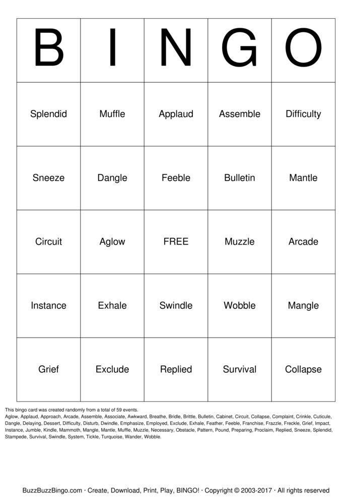 Spelling Bingo Board Spelling Bingo Bingo Cards to Download Print and Customize
