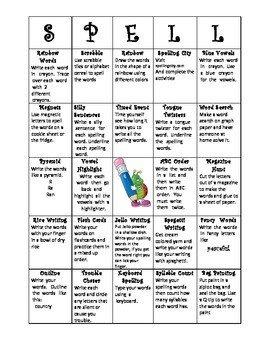 Spelling Bingo Board Spelling Bingo by Kayla E