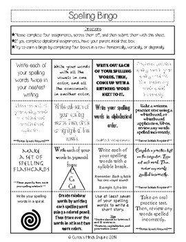 Spelling Bingo Board Spelling Homework Bingo and Tic Tac toe Boards