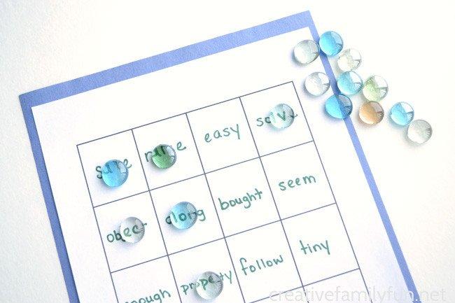 Spelling Bingo Board Spelling Word Bingo Creative Family Fun