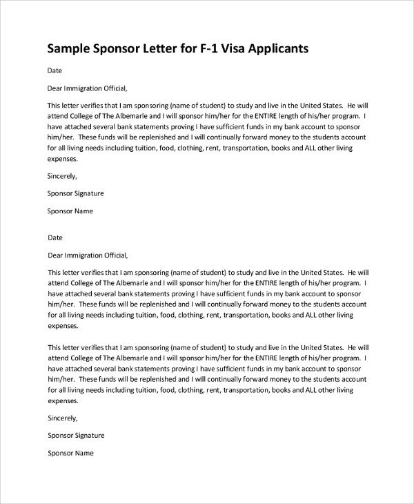 Sponsor Letter for Visa 12 Sample Visa Sponsorship Letters Pdf Doc