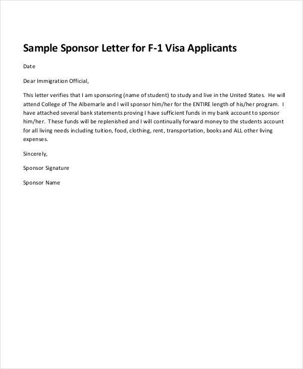 Sponsor Letter for Visa 19 Examples Of Sponsorship Letters Doc Pdf