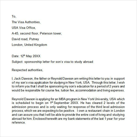 Sponsor Letter for Visa Download Free Corporate Sponsorship Letters Templates