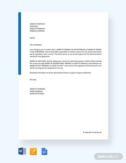 Sponsor Letter for Visa Free Employee Reference Letter for Visa Template Download