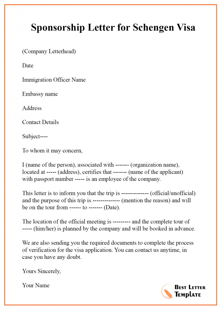 Sponsor Letter for Visa Sponsorship Letter for Visa Template – format Sample