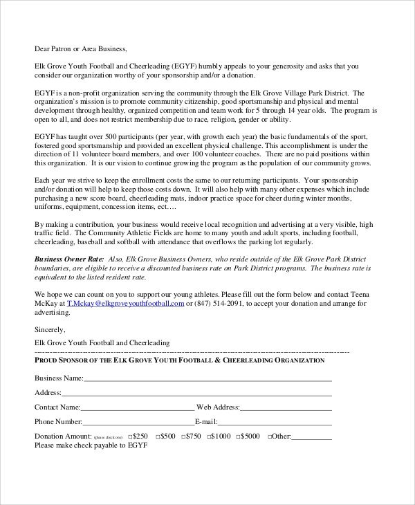 Sponsorship form for Sports Team 10 Sports Sponsorship Letter Samples Pdf Word Apple Pages