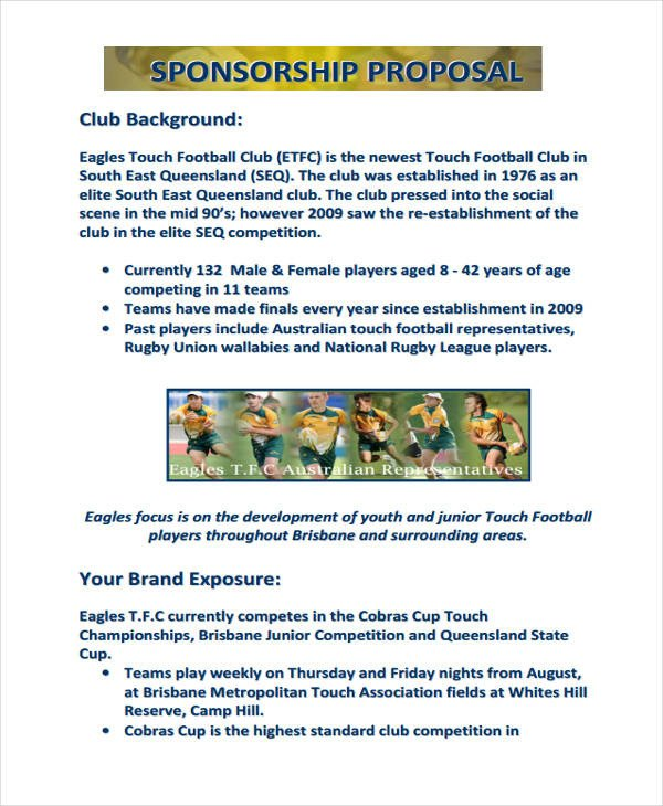 Sponsorship form for Sports Team 14 Sponsorship Proposal Examples & Samples Pdf Word