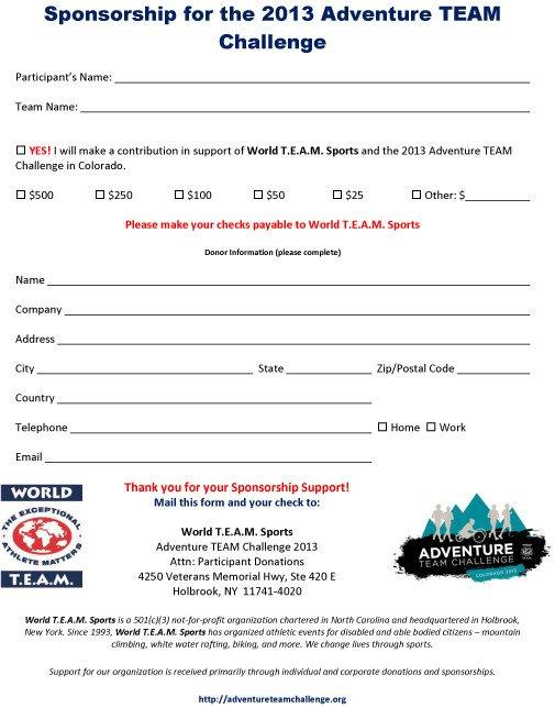 Sponsorship form for Sports Team Adventure Team Challenge 2013 Participant Sponsorship form