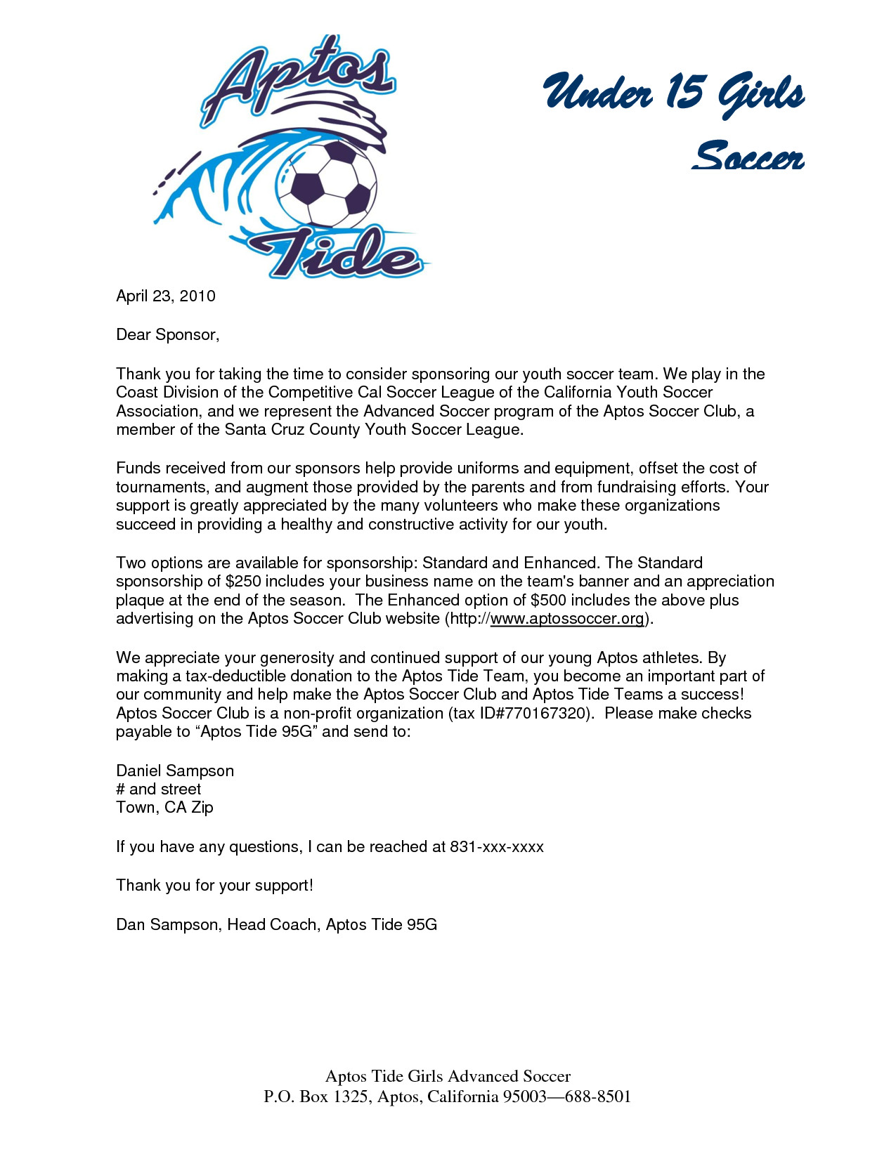 Sponsorship form for Sports Team Parent Thank You Letter From Youth athletes