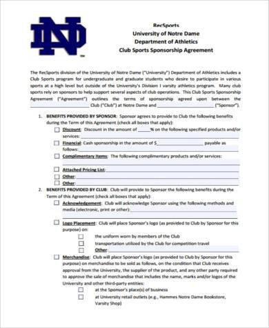 Sponsorship form for Sports Team Sample Sponsorship Agreement forms 8 Free Documents In Pdf