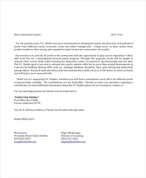 Sponsorship form for Sports Team Sample Sponsorship Request Letter 6 Documents In Pdf