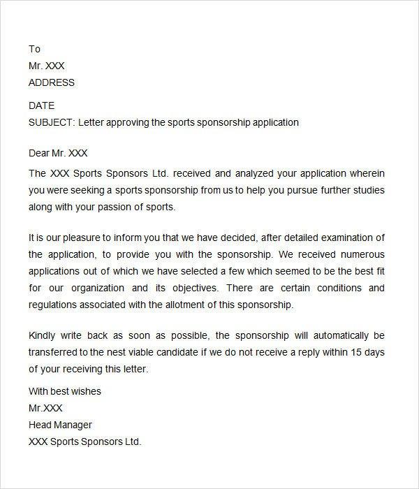Sponsorship form for Sports Team Sponsorship Letter 7 Free Download for Word