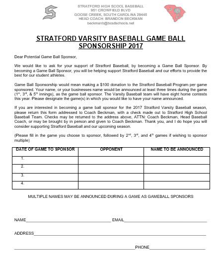 Sponsorship form for Sports Team Stratford Team Home Stratford Knights Sports