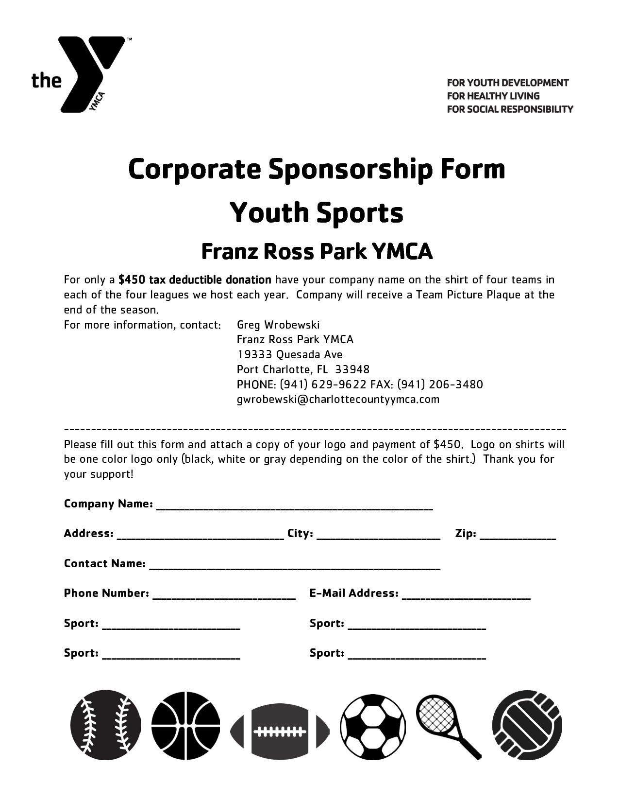 Sponsorship form for Sports Team Youth Baseball Sponsorship Letter Template Samples