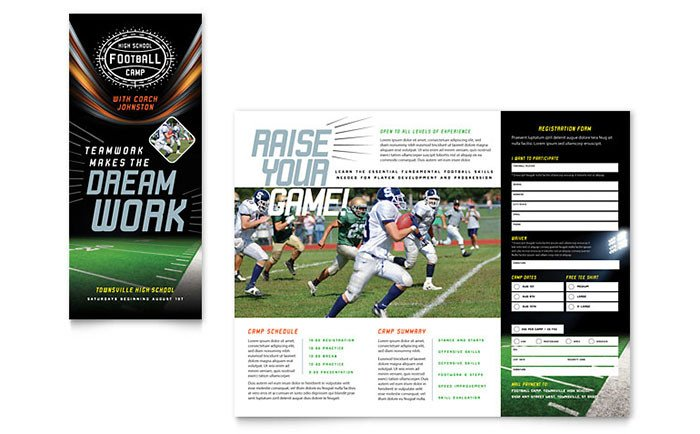Sports Program Template Microsoft Word Football Training Brochure Template Design