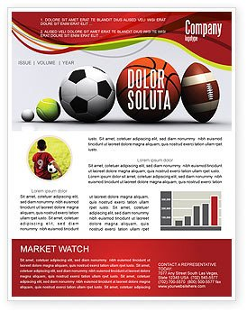 Sports Program Template Microsoft Word Sport Balls Newsletter Template for Microsoft Word & Adobe