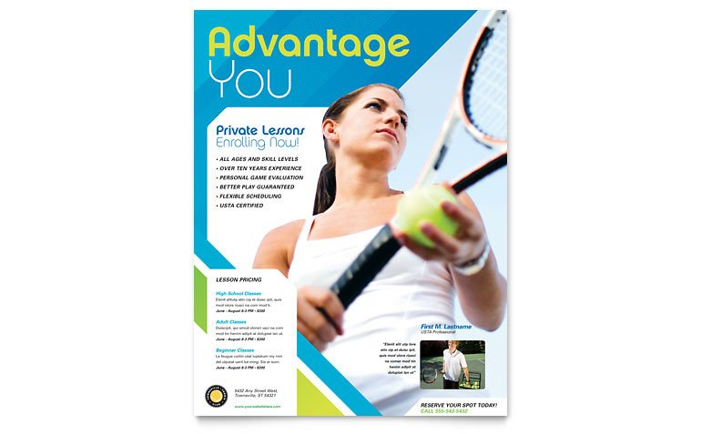 Sports Program Template Microsoft Word Tennis Club & Camp Flyer Template Word & Publisher