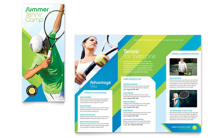 Sports Program Template Microsoft Word Tennis Club & Camp Tri Fold Brochure Template Word