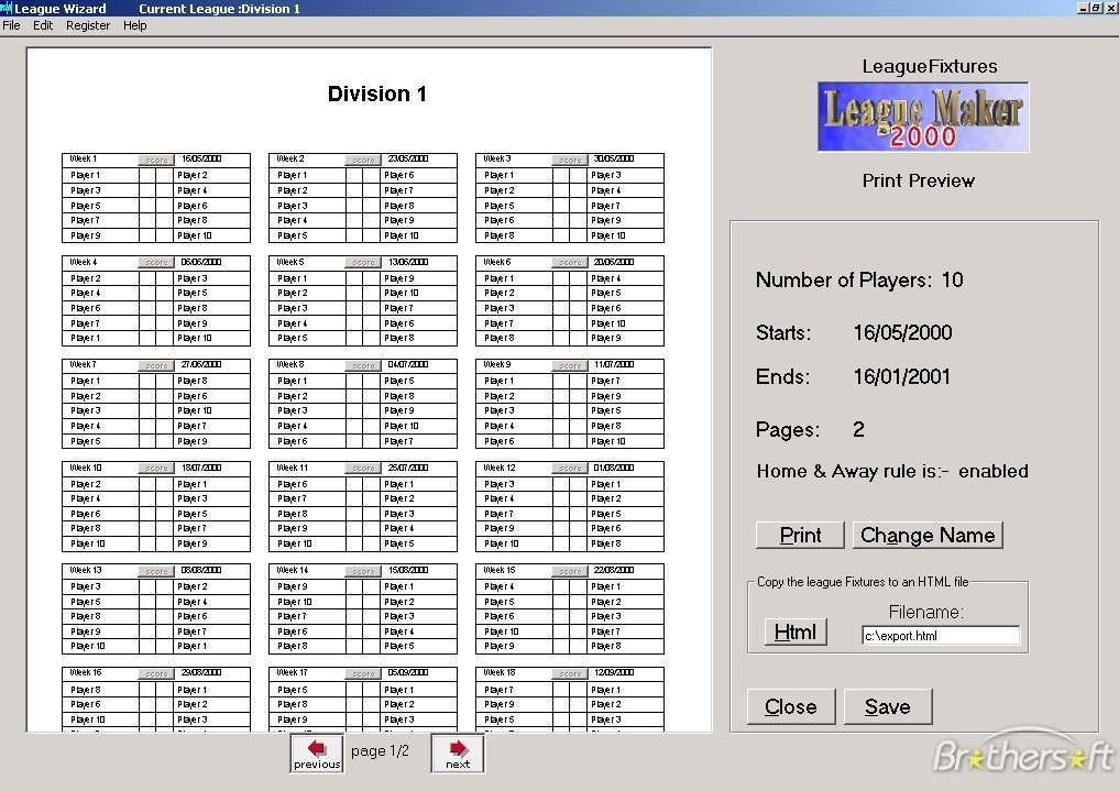Sports Schedule Maker Excel Template Round Robin tournament Generator PHP