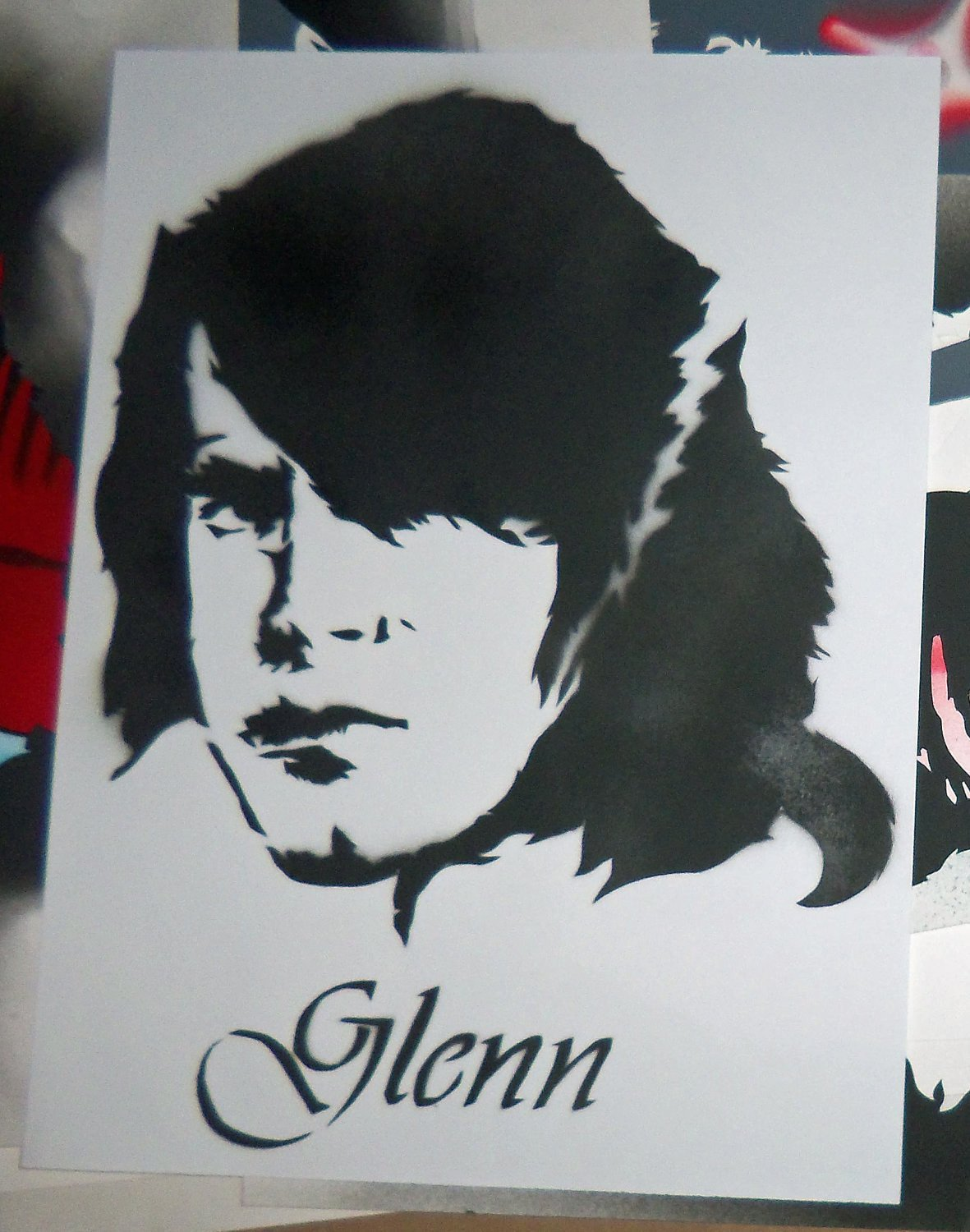 Spray Paint Art Stencils Items Similar to Glenn Danzig Spray Paint Stencil Painting