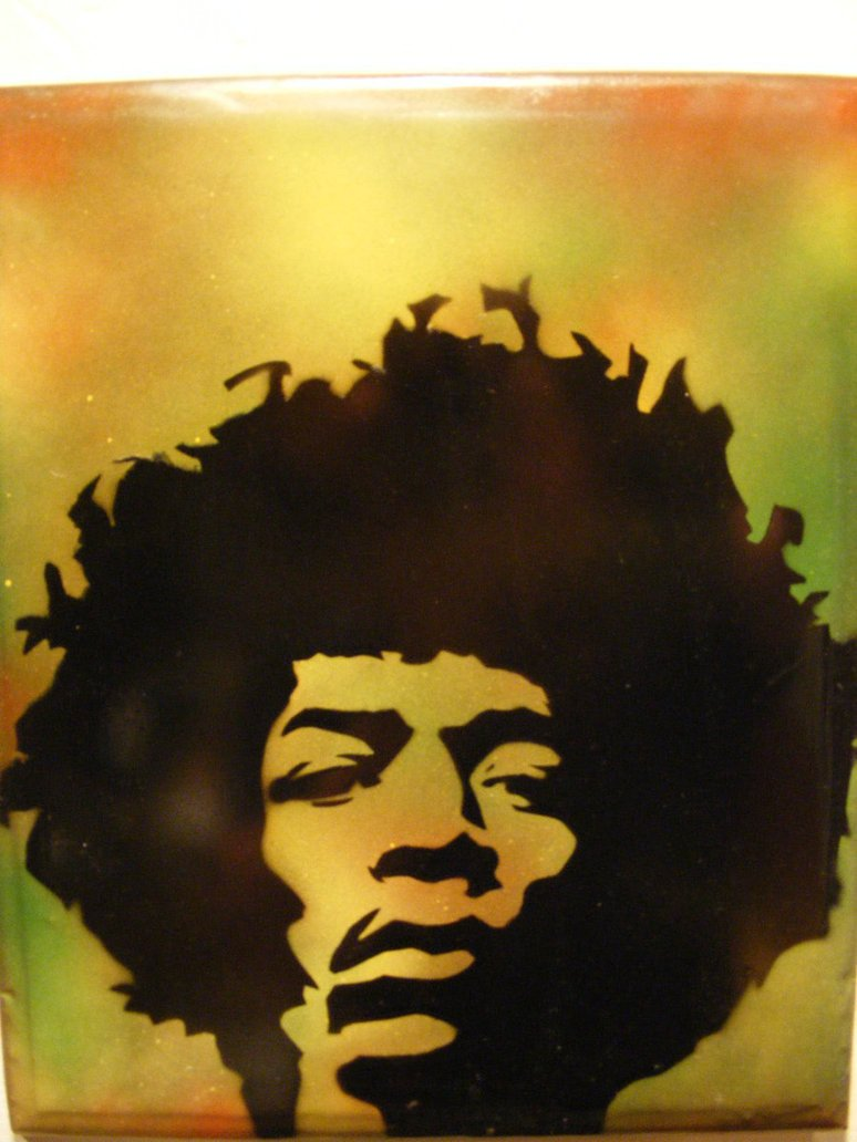 Spray Paint Art Stencils Spray Paint Stencil Art On Wood Jimi Hendrix by