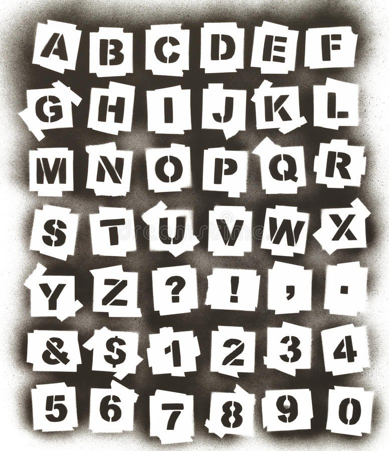 Spray Paint Letter Stencils Spray Paint Alphabet Stock Photo Image Of isolated