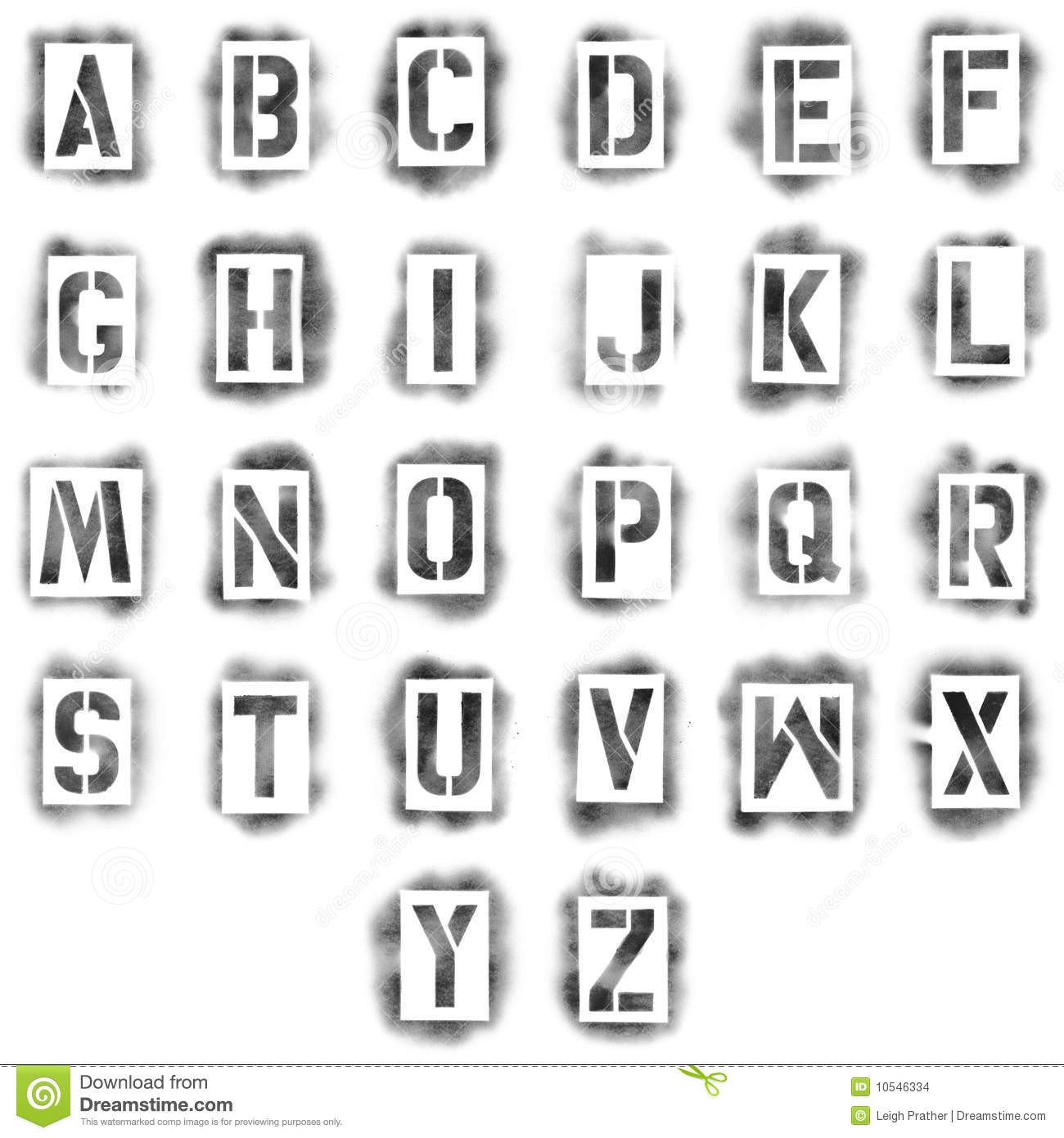 Spray Paint Letter Stencils Stencils In Spray Paint Stock Illustration Image Of