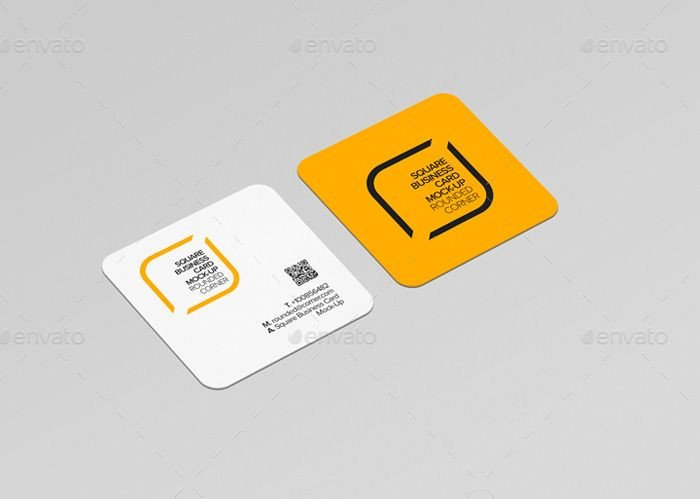 Square Business Card Mockup Round Corner Square Business Card Mockup