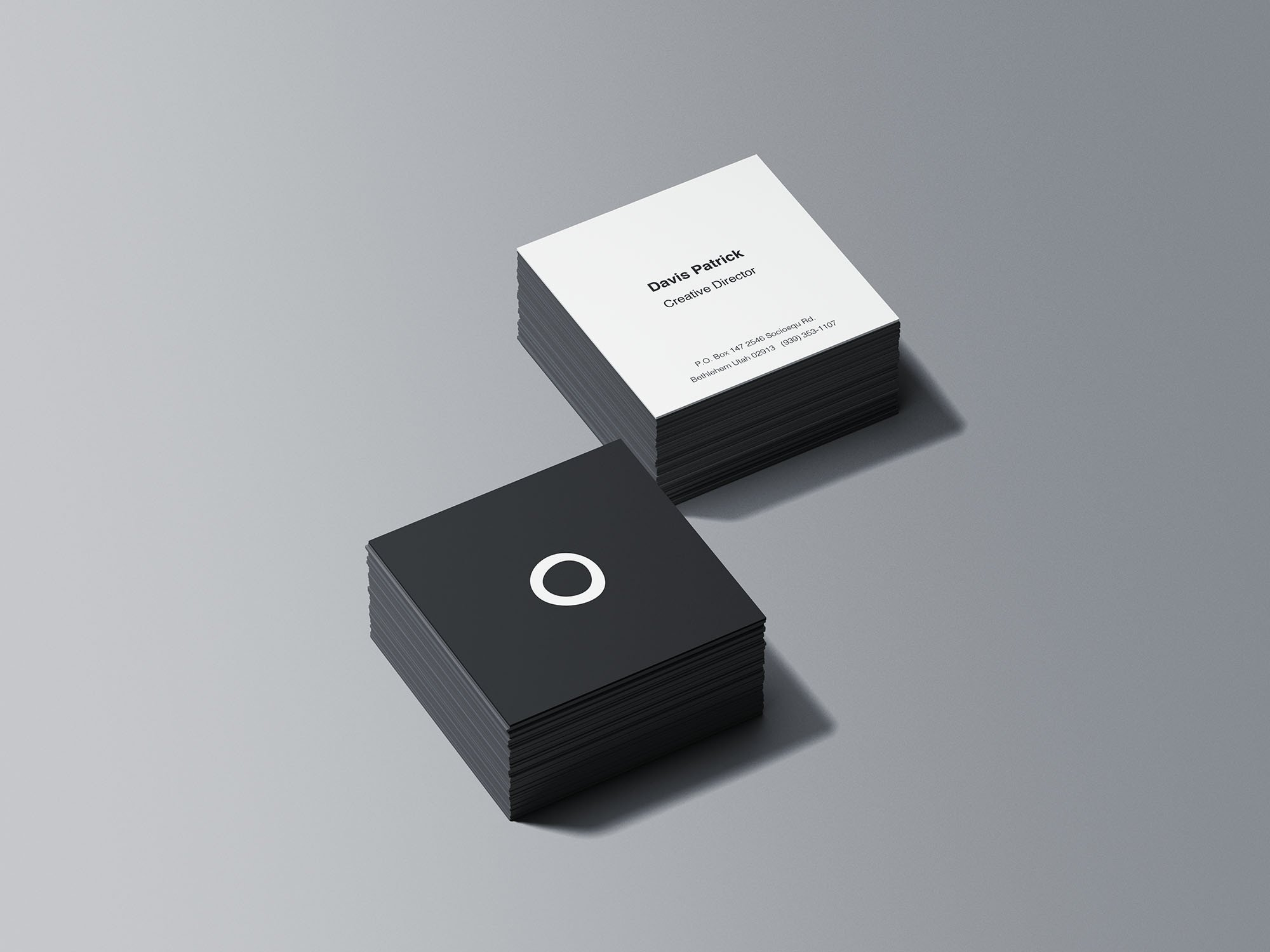 Square Business Card Mockup Square Business Card Stacks Mockup