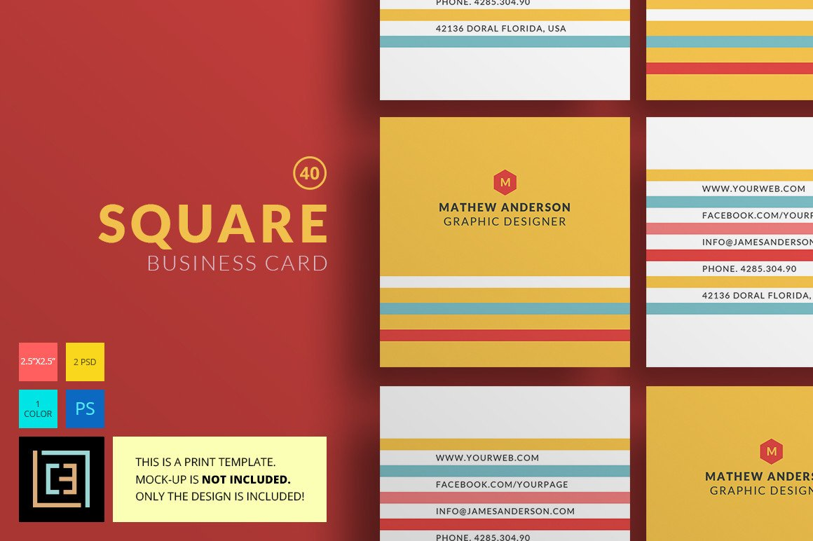 Square Business Card Template Square Business Card 40 Business Card Templates On
