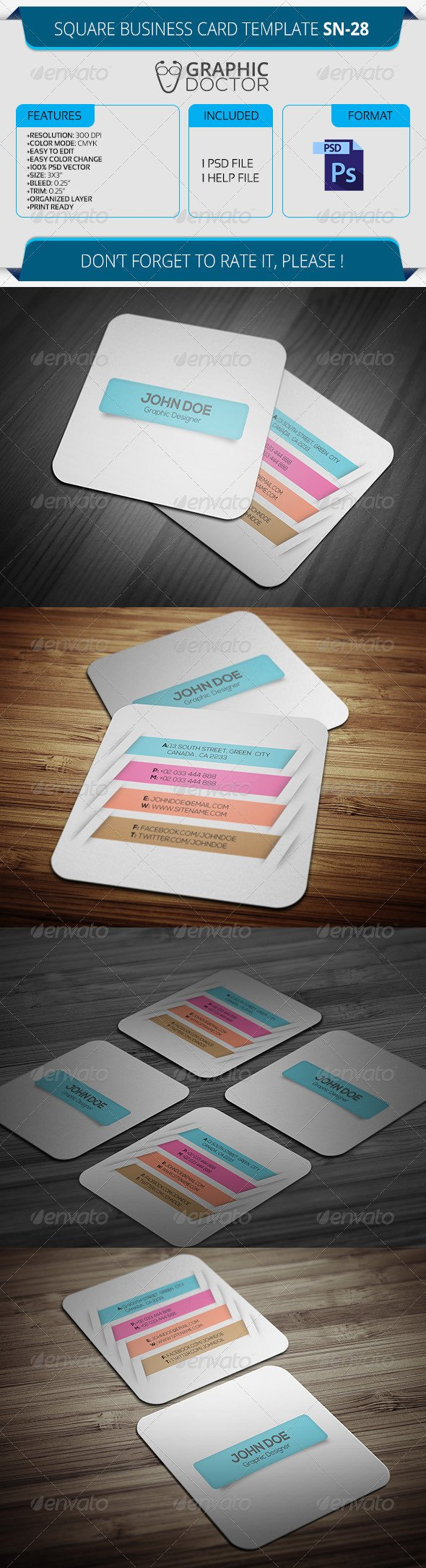 Square Business Card Template Square Business Card Template Sn 28 by Graphicdoctor