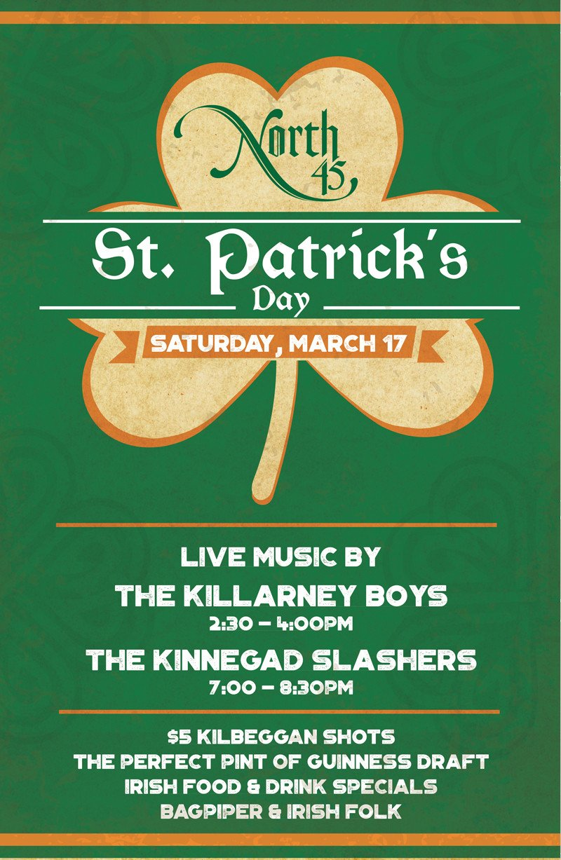 St Patrick Day Flyer events north 45