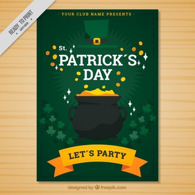 St Patrick Day Flyer Gold Pot St Patrick S Day Flyer Vector