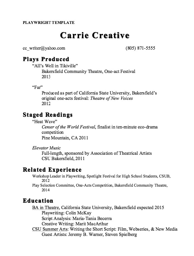 Stage Play format Template Pin by Ririn Nazza On Free Resume Sample