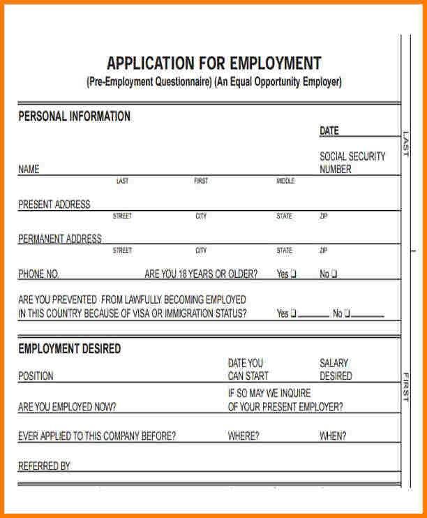 Standard Job Application Template 12 Standard Application for Employment