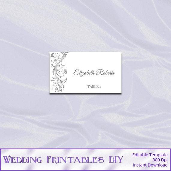 Staples Tent Card Template Silver Place Card Template Diy Printable Gray Wedding Tent