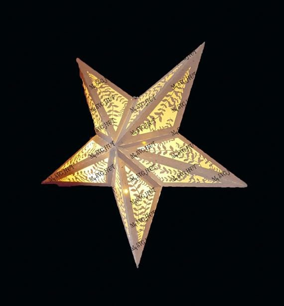 Star Lantern Template 3d Folding Star Lantern with Leaf Design Template
